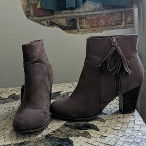 Brown booties with tassels